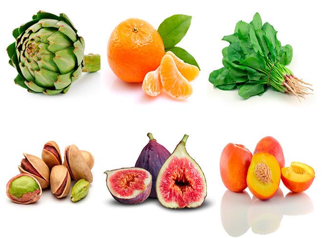 Alimentos con fibra variados